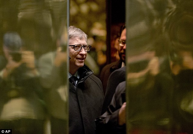Microsoft co-founder Bill Gates didn't talk to reporters on his way into his meeting with President-elect Donald Trump, but called it a 'good time' as he was leaving