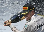 Mercedes driver Lewis Hamilton of Britain sprays champagne after winning the Hungarian Formula One Grand Prix at the Hungaroring racetrack near Budapest, Hungary, Sunday, July 24, 2016.(AP Photo/Darko Vojinovic)