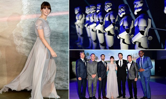 Felicity Jones dazzles in elegant grey gown at Rogue One A Star Wars Story screening