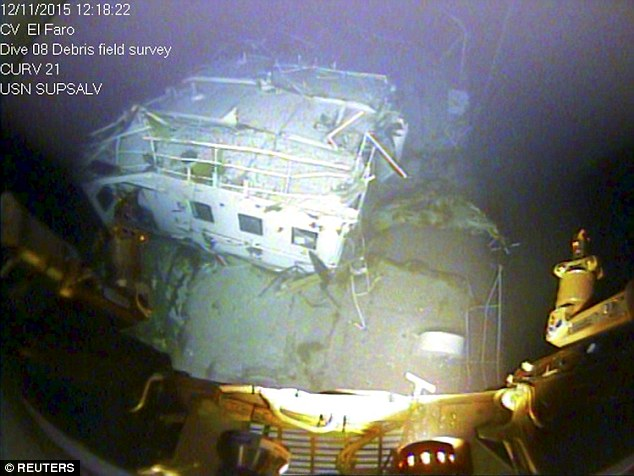 A closeup view of the El Faro navigation bridge is shown on the ocean floor taken by an underwater video camera November 12, 2015