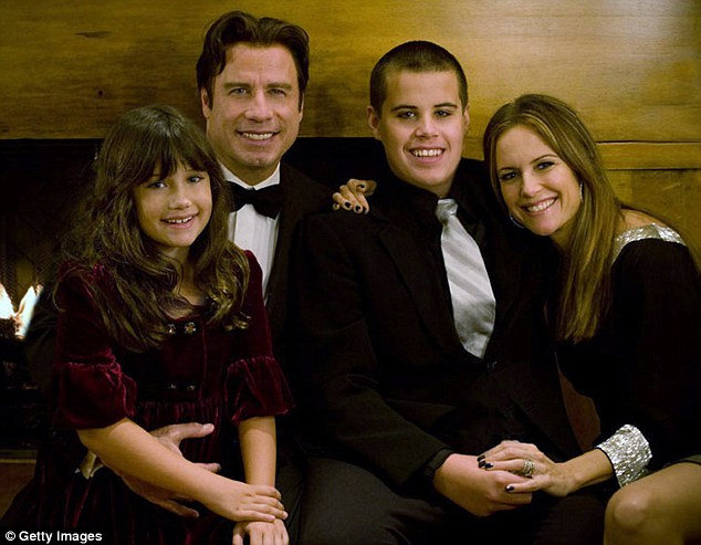 Devastating loss:Travolta experienced his most devastating loss in 2009 when his son Jett died at the age of 16 while on Christmas holiday in the Bahamas (Travolta pictured with his wife Kelly Preston and their children Jett (2nd R) and Ella)