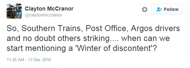"""Reaction: One Twitter user asked: 'When can we start mentioning a """"Winter of Discontent""""?'"""