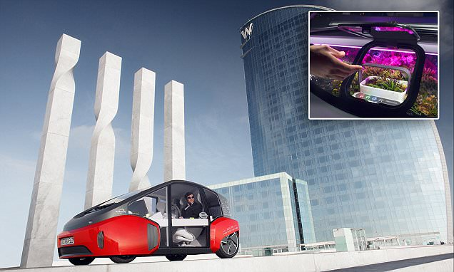 Rinspeed's new Oasis concept car has a steering wheel desk and dashboard garden