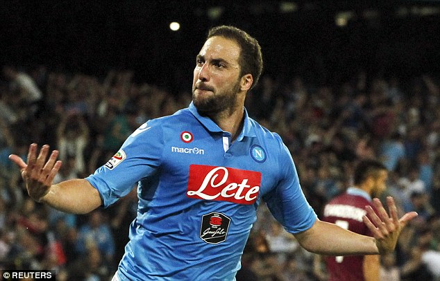 Arsenal and Chelsea are both keen on Gonzalo Higuain, pictured celebrating a goal against Lazio last week