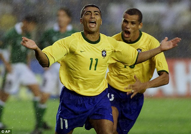 Romario, pictured celebrating a goal for Brazil against Bolivia in 2000, won 70 caps for his country
