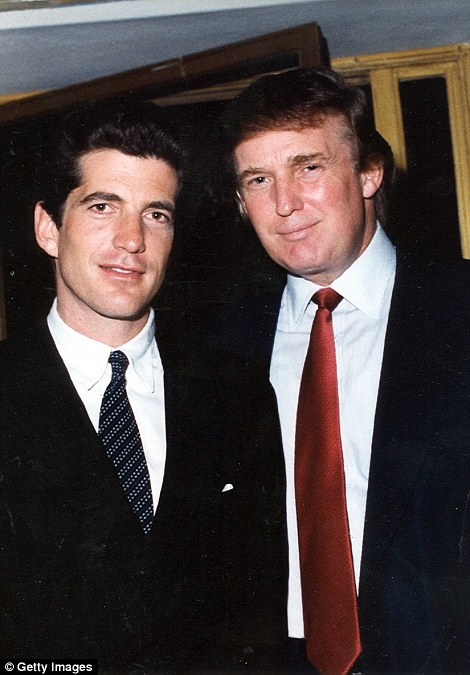 Also on the wall: Trump's office has a framed version of this picture of him and JFK Jnr at Mar-a-Lago in 1996