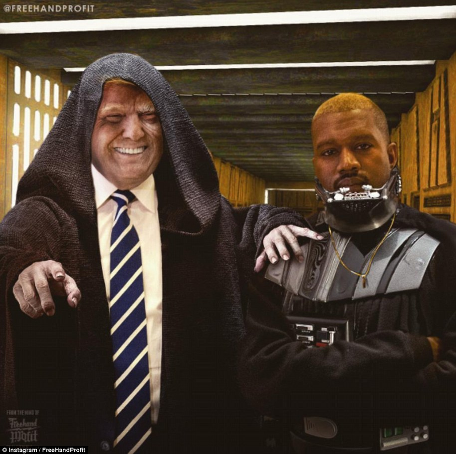 North, I am your father! The meme above compares Kanye to Darth Vader and Trump as the Sith lord