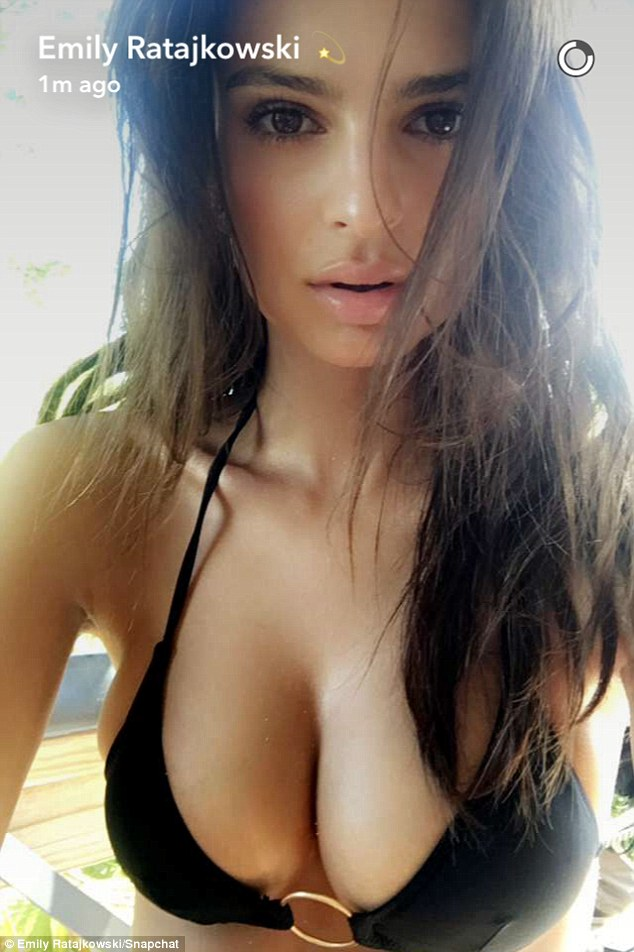 Eyeful: She showed off her cleavage in another revealing photo she posted to Snapchat