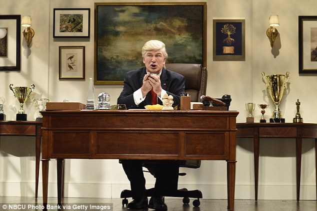 Funny guy: Alec has received critical acclaim for his impersonation of President-elect Donald Trump on NBC's Saturday Night Live