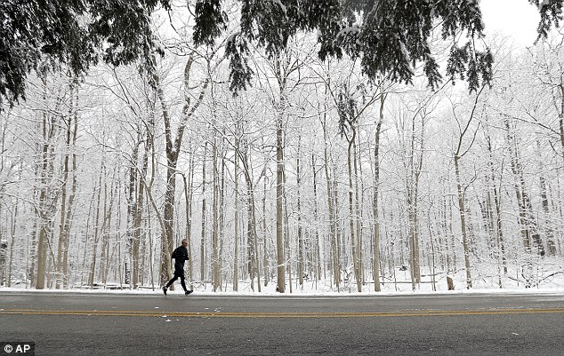 A runner goes for a run in Eagle Creek Park as snow falls on Tuesday in Indianapolis