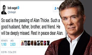 Ellen DeGeneres says 'Am,erica loved Alan Thicke' as she joins Alyssa Milano, Demi Lovato
