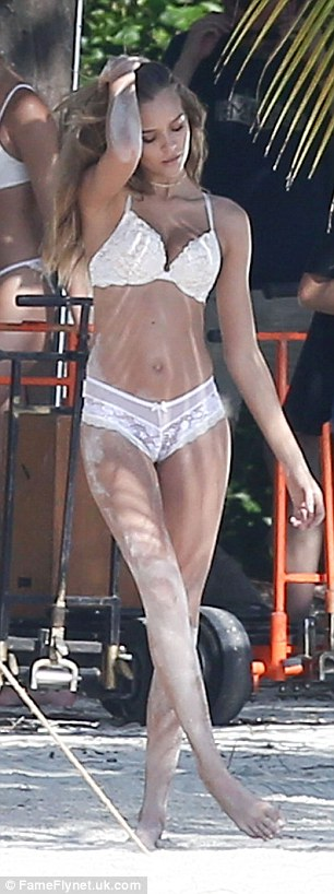 White hot! The blonde stunner scintillated in several scantily-clad ensembles including a matching lace bra and panty set