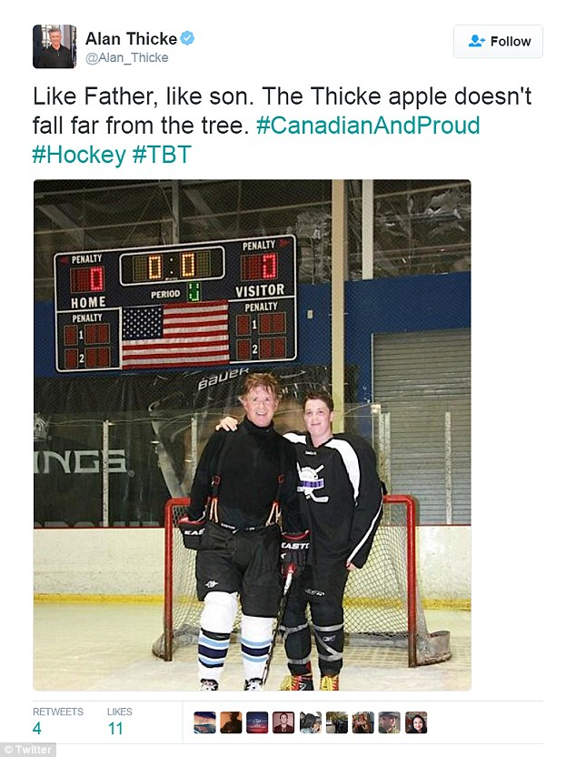 Last year, Thicke tweeted this photo of him and his son playing hockey