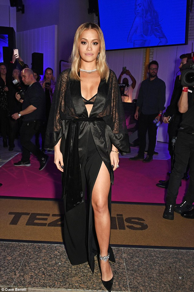 Well hello Miss Ora! Cheeky! Rita Ora used the launch night for her Tezenis lingerie range to turn underwear into outerwear as she sashayed onto the London streets ahead of her big bash on Tuesday evening