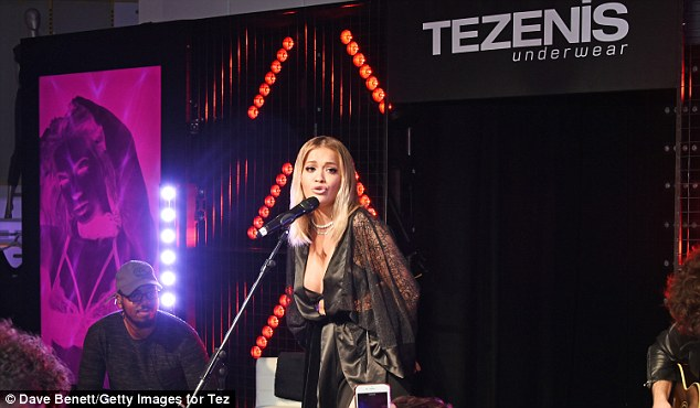 Belting it out: She delighted the audience by singing some of her hits