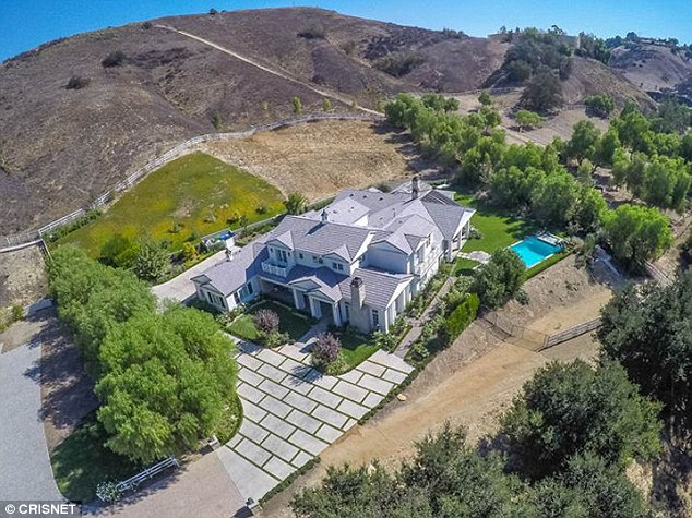 Gated community: The six-bedroom home is located in a gated community near Kris Jenner and Kim Kardashian
