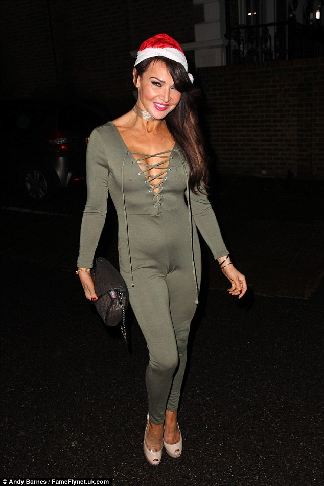 Outfit change! Lizzie later donned a khaki jumpsuit as she left the Dick Whittington production at New Wimbledon Theatre in London