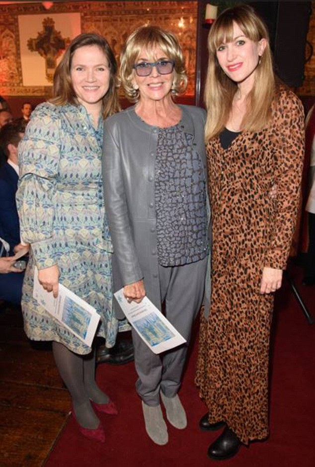 The gang: Also in attendance at the glamorous concert was Spaced actress Jessica Hynes who looked stylish in green and white patterned dress with grey tights