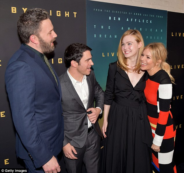 Good times: The cast had some fun catching up on the red carpet