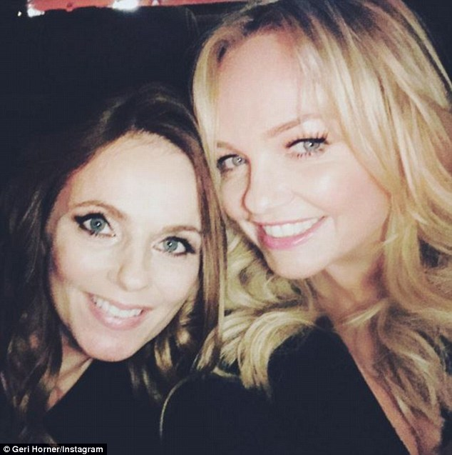 Party girls: On Monday, the former Spice Girls also enjoyed a night out on the town together