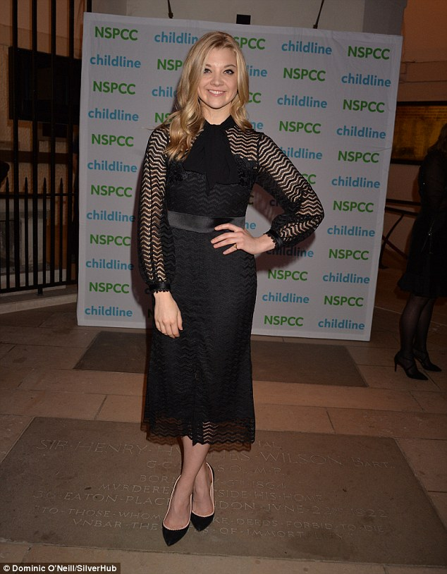 Elegant: The 34-year-old actress looked sensational in her pussybow dress as she headed to the carol concert held in aid of Childline's 30th anniversary, which was hosted by the NSPCC in the presence of HRH The Countess of Wessex