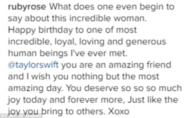Gushing: The Orange Is The New Black star went into detail in her Instagram caption, describing Taylor as 'one of the [the] most incredible, loyal, loving and generous human beings'