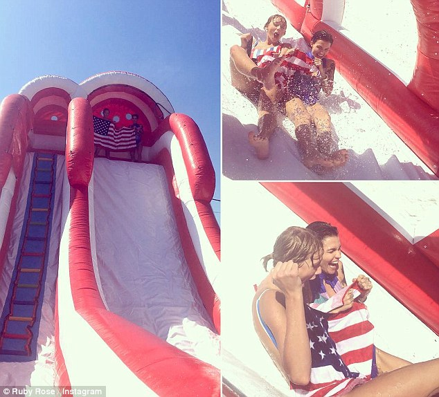 Playful! The former MTV Australia presenter was seen having the time of her life with Taylor during the fourth of July celebrations this year