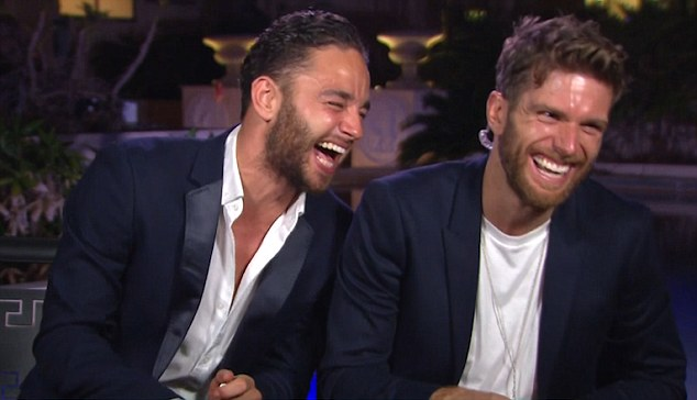 Giddy: He was rather tipsy during his last time on the show, via VT, along with Joel Dommett (right), as it was halfway through the I'm A Celeb wrap party