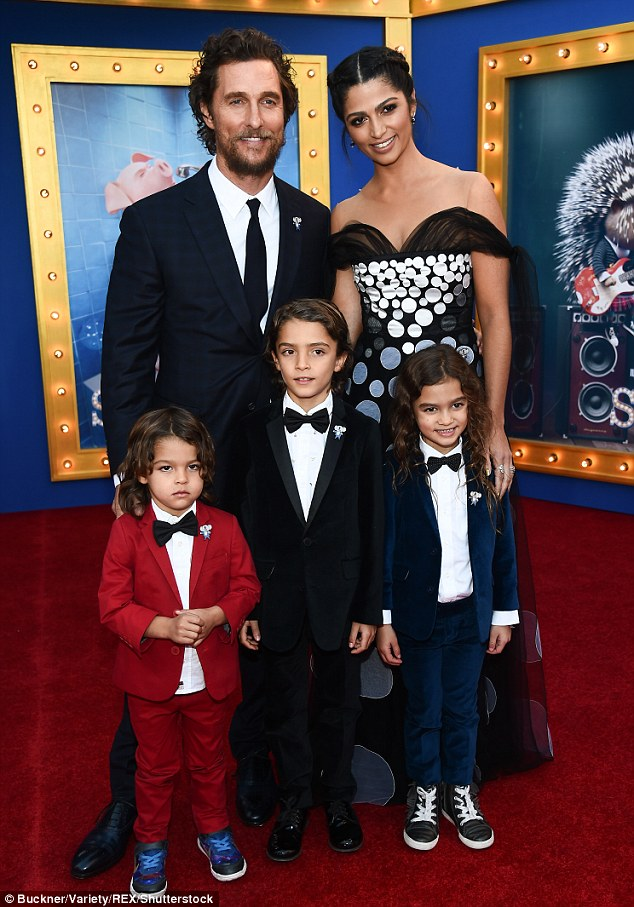 Tuxedo-clad kids:The eccentric Texan shares lavish homes in Malibu and Austin with the Brazilian 34-year-old and their three children - Livingston, 3; Levi, 8; and Vida, 6