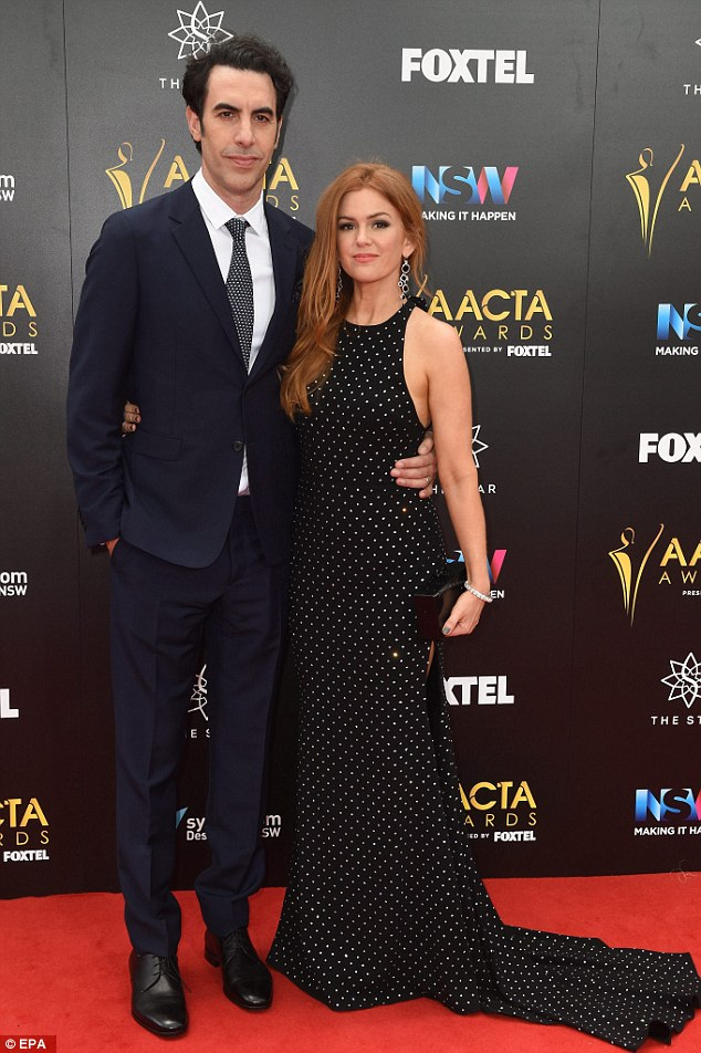Supportive: Sacha accompanied wife Isla Fisher to last Wednesday's AACTA Awards in Sydney