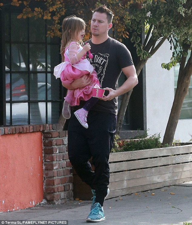 Family bonding: On Tuesday, Channing Tatum, 36, enjoyed quality time with daughter Everly, three, as the two grabbed frozen yoghurt in Los Angeles