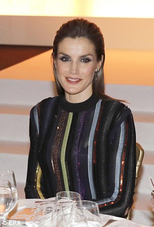 The Queen of Spain wore a sparkly and striped dress to the glitzy occasion