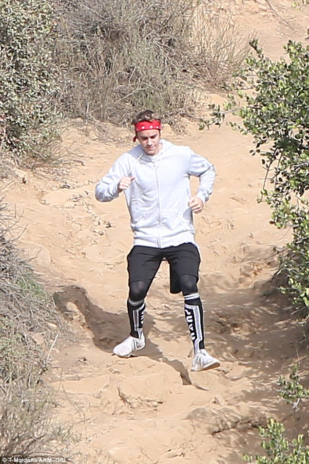 Coming down the mountain! The Biebs made easy work of the rough terrain