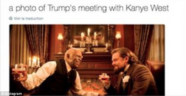 Special treatment: One meme compared Trump to Leonardo DiCaprio's slave owner in Django Unchained, with Kanye as the Uncle Tom-esque head slave Stephen