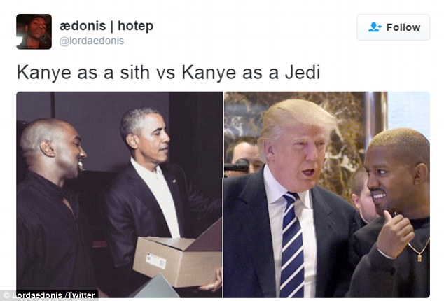 Sea change: Multiple memes contrasted pictures of Kanye with President Obama and the new President-elect