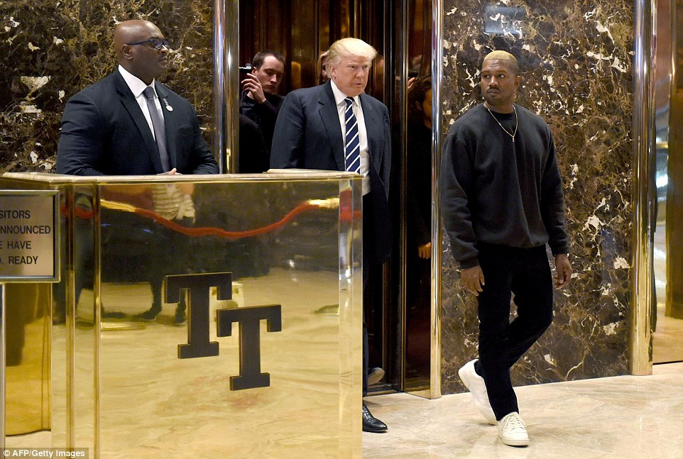As I recall, I know you love to show off: Kanye dressed down for his short meeting with Trump, wearing a black crew-neck sweatshirt, black pants and white sneakers