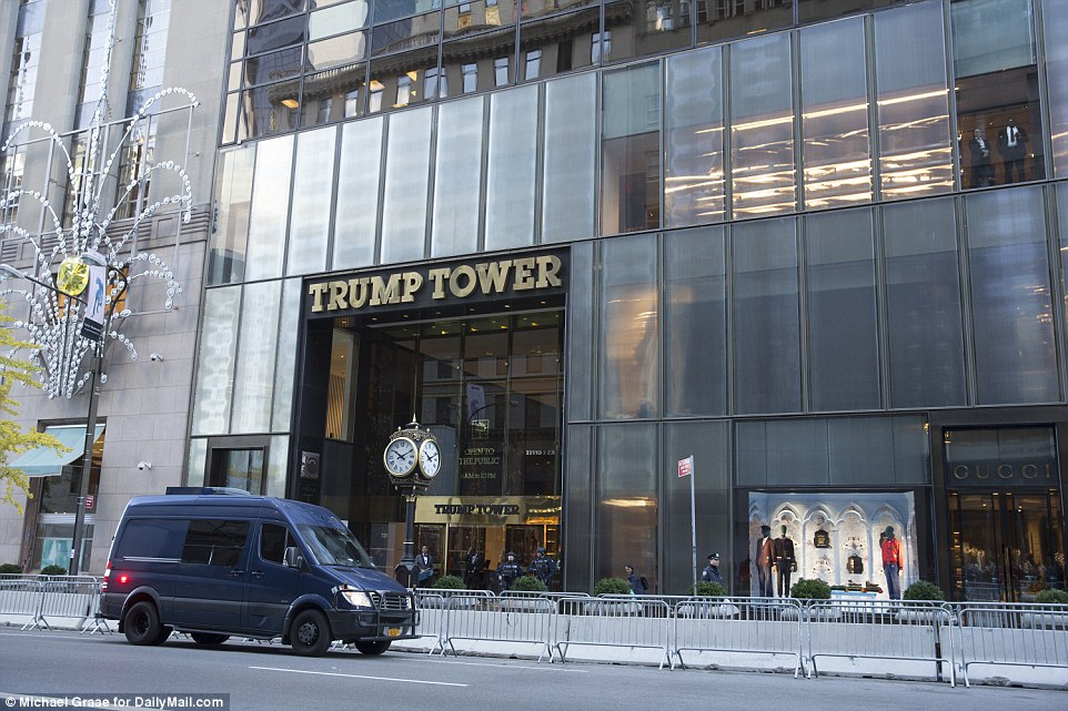 Heavy security: Trump Tower has been turned into a mini-fortress with traffic blocked from outside and armed police on constant guard