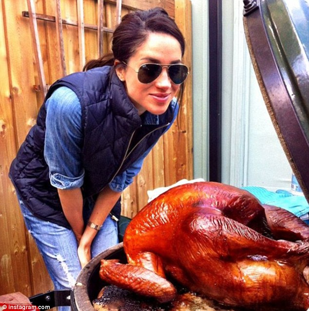 Actress Meghan Markle with a turkey ahead of American Thanksgiving from Instagram