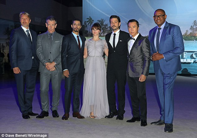 Proud: Mads Mikkelsen, Ben Mendelsohn, Riz Ahmed, Felicity Jones, Diego Luna, Donnie Yen and Forest Whitaker - pictured from left to right - at the London premiere on Tuesday