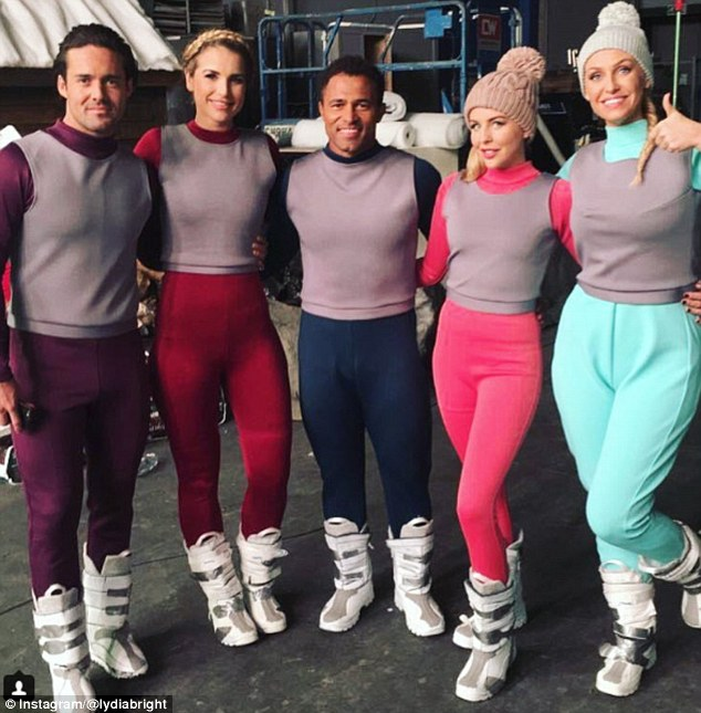 All together now: Lydia Bright offered an insight into the 2017 The Jump line-up's antics, sharing a snap of herself posing with co-stars Spencer Matthews, Vogue Williams, Jason Robinson and Josie Gibson