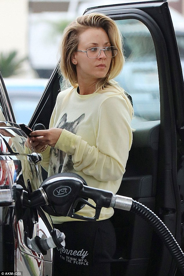 Daily chores: Kaley Cuoco was spotted Tuesday as she stopped to gas up her Range Rover in Los Angeles