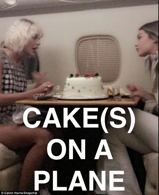 'Cake(s) on a plane': Back in April Calvin Harris shared a short video on Snapchat of then girlfriend Taylor giving Gigi a cake for her 21st birthday while on a private jet en route to Coachella