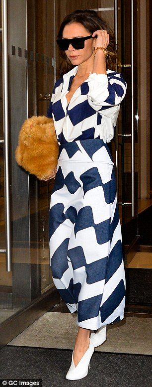 Trendsetters: Victoria Beckham, 42, stepped out in NYC last week in this bold design from her eponymous line