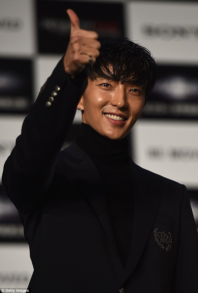 Dapper dude: Lee Joon-gi looked smart as he rocked an all-black ensemble at the event
