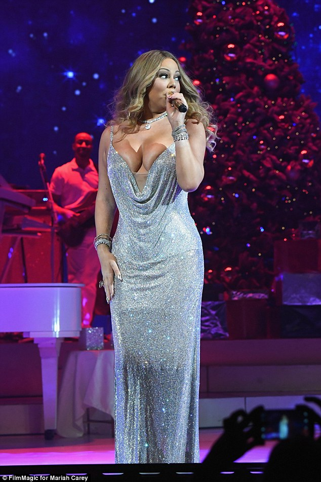 All that glitters! Carey had the audience in the palm of her hand while performing on December 5