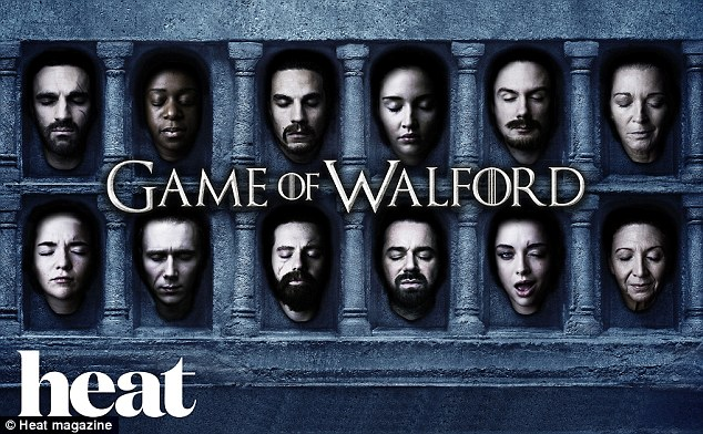 Coming to HBO soon: The cast of EastEnders later rocked pale make-up and false cuts and bloods as they provided headshots for a false promo for show 'Game of Walford'
