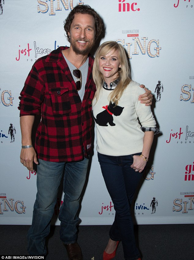 At work: The star was seen promoting his movie Sing on Sunday. He posed alongside his co-star Reese Witherspoon at the special screening benefitting Girls, Inc. and Just Keep Living Foundation