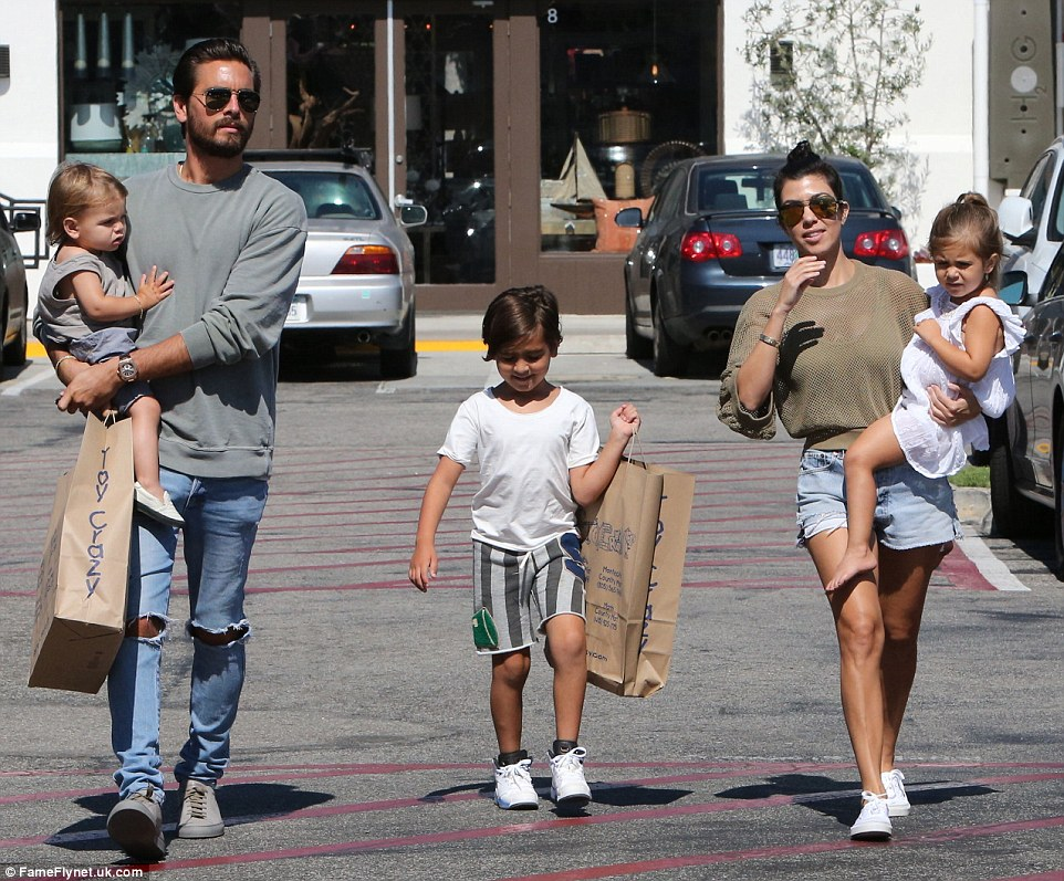Keeping them close: Scott is said to be looking to move closer to ex Kourtney and their children (L to R) Reign, one, Mason, six, and Penelope, three