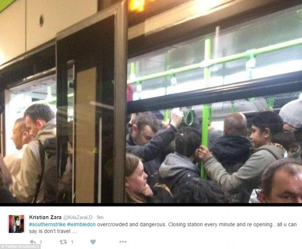 Some rail users called the situation dangerous as people packed on to the trains, leaving very little space to move, pictured