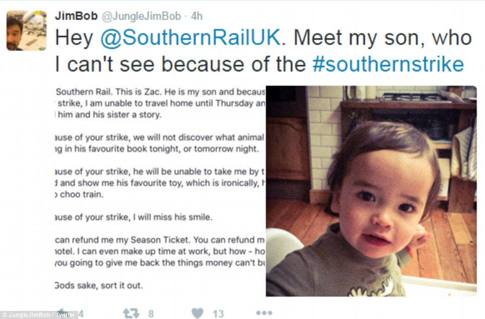 Management consultant Mr Boyden, 38, posted this desperate plea to Southern rail, telling the story of his young son